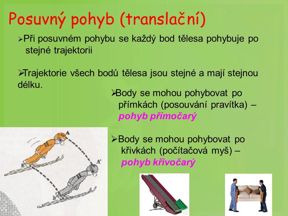 Posuvný pohyb (translační)  Při posuvném pohybu se každý bod tělesa pohybuje po stejné trajektorii  Trajektorie všech bodů tělesa jsou stejné a mají stejnou délku.