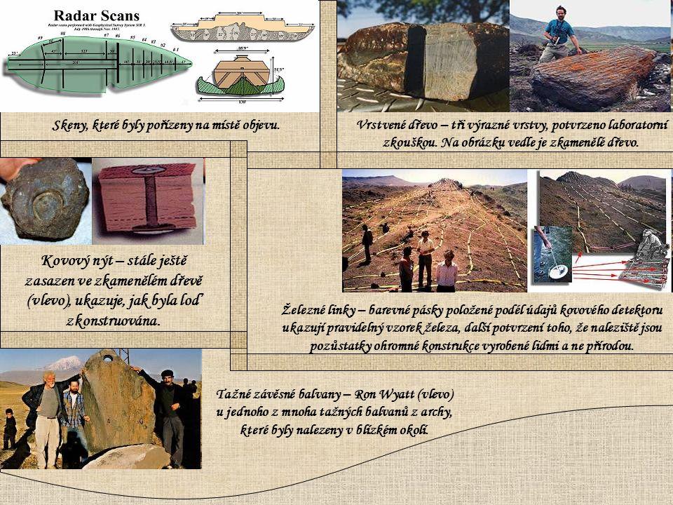Kovový nýt – stále ještě zasazen ve zkamenělém dřevě (vlevo), ukazuje, jak byla loď zkonstruována. Tažné závěsné balvany – Ron Wyatt (vlevo) u jednoho