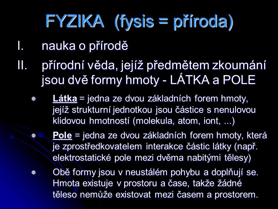 FYZIKA (fysis = příroda) I.nauka o přírodě II.přírodní věda, jejíž předmětem zkoumání jsou dvě formy hmoty - LÁTKA a POLE Látka = jedna ze dvou základních forem hmoty, jejíž strukturní jednotkou jsou částice s nenulovou klidovou hmotností (molekula, atom, iont,...) Látka = jedna ze dvou základních forem hmoty, jejíž strukturní jednotkou jsou částice s nenulovou klidovou hmotností (molekula, atom, iont,...) Pole = jedna ze dvou základních forem hmoty, která je zprostředkovatelem interakce částic látky (např.
