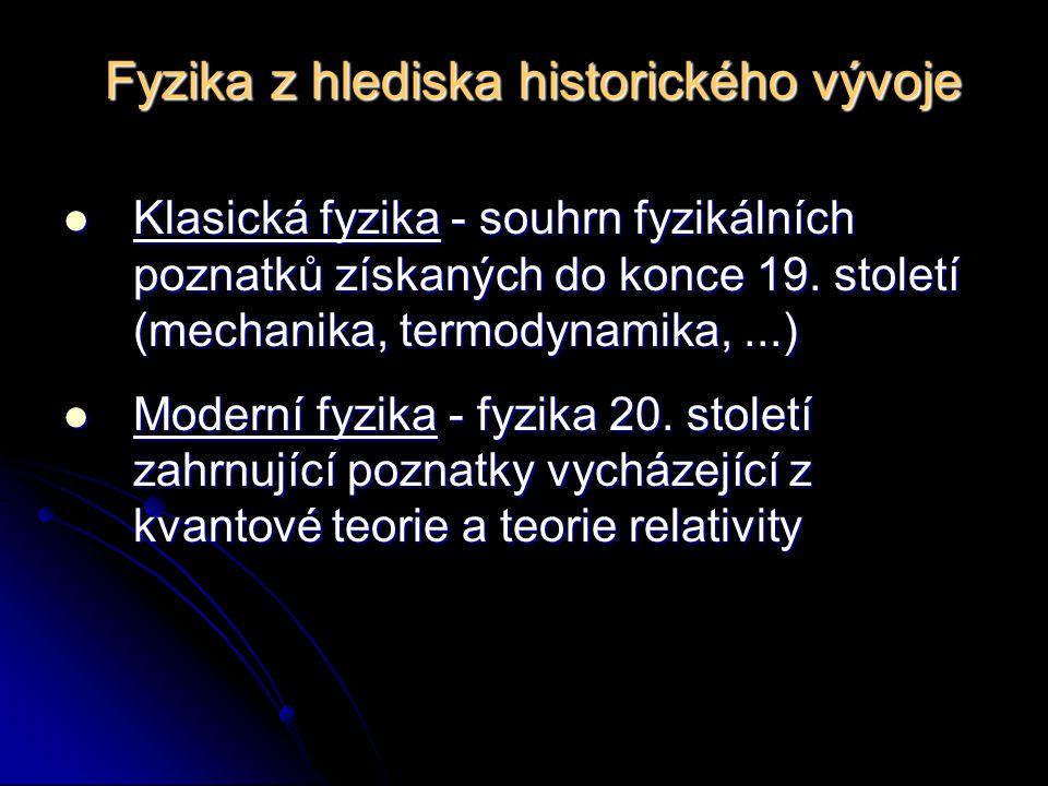 Fyzika z hlediska historického vývoje Klasická fyzika - souhrn fyzikálních poznatků získaných do konce 19.