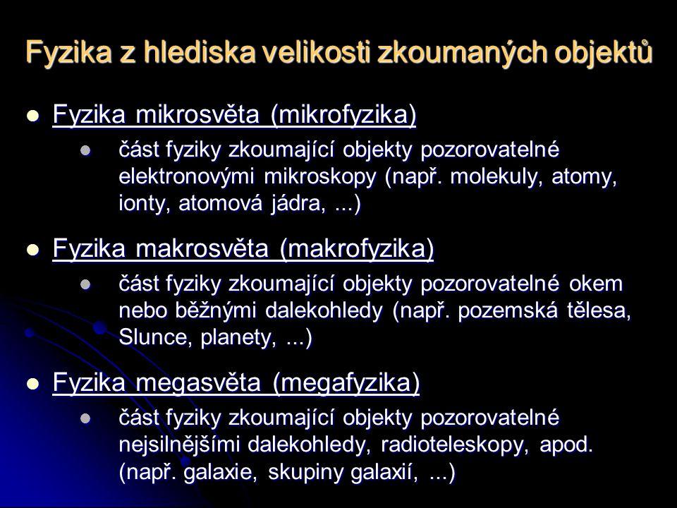 Fyzika z hlediska velikosti zkoumaných objektů Fyzika mikrosvěta (mikrofyzika) Fyzika mikrosvěta (mikrofyzika) část fyziky zkoumající objekty pozorovatelné elektronovými mikroskopy (např.