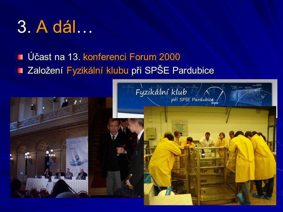 3. A dál… Účast na 13. konferenci Forum 2000 Založení Fyzikální klubu při SPŠE Pardubice