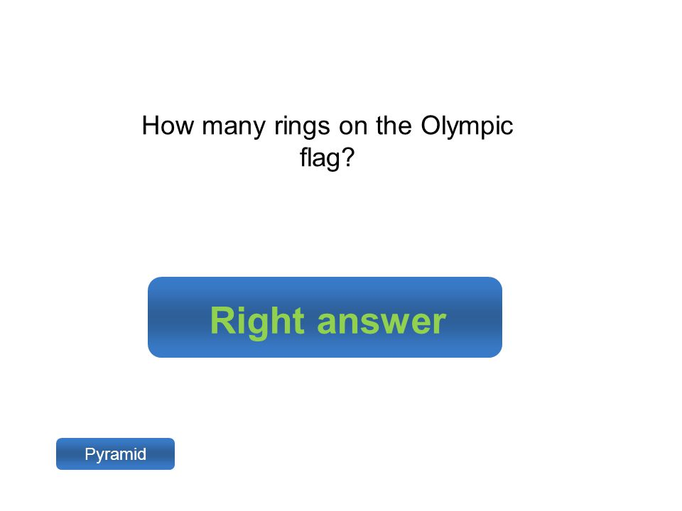 Right answer Pyramid How many rings on the Olympic flag?