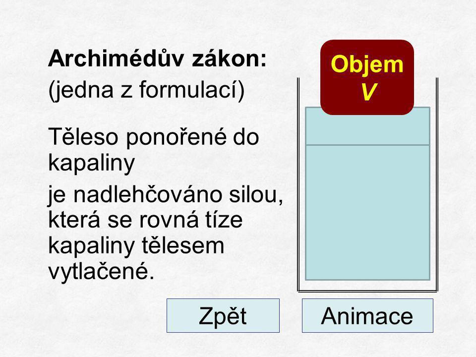 Archimédův zákon: (jedna z formulací) Těleso ponořené do kapaliny je nadlehčováno silou, která se rovná tíze kapaliny tělesem vytlačené.