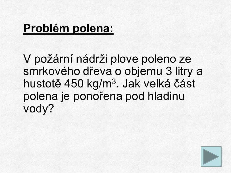 Problém polena: V požární nádrži plove poleno ze smrkového dřeva o objemu 3 litry a hustotě 450 kg/m 3.