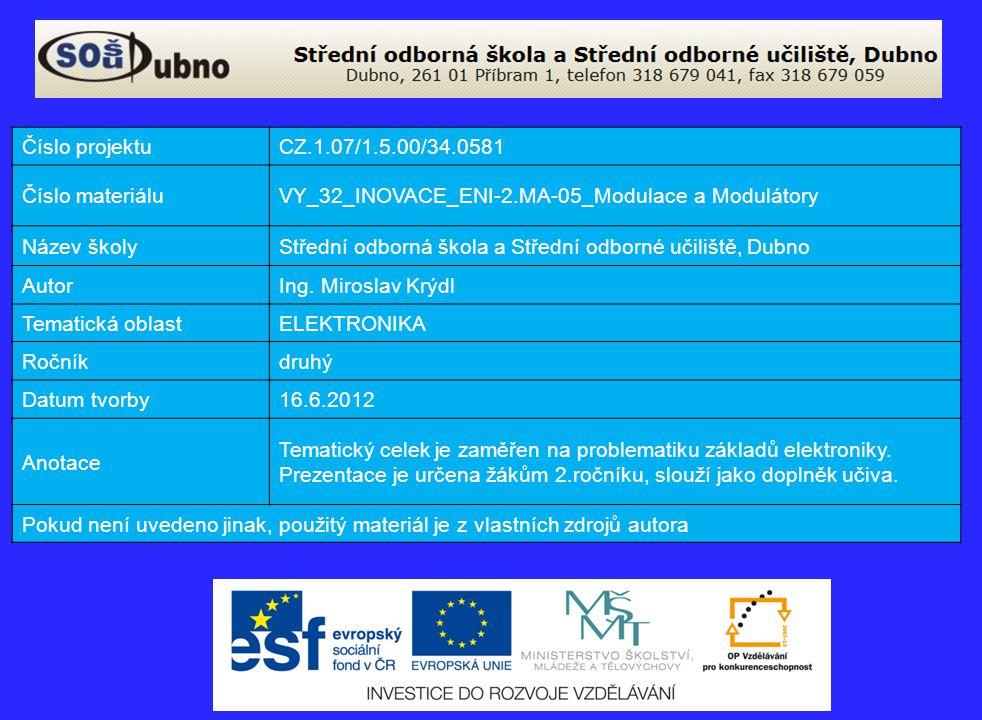 Číslo projektuCZ.1.07/1.5.00/34.0581 Číslo materiáluVY_32_INOVACE_ENI-2.MA-05_Modulace a Modulátory Název školyStřední odborná škola a Střední odborné