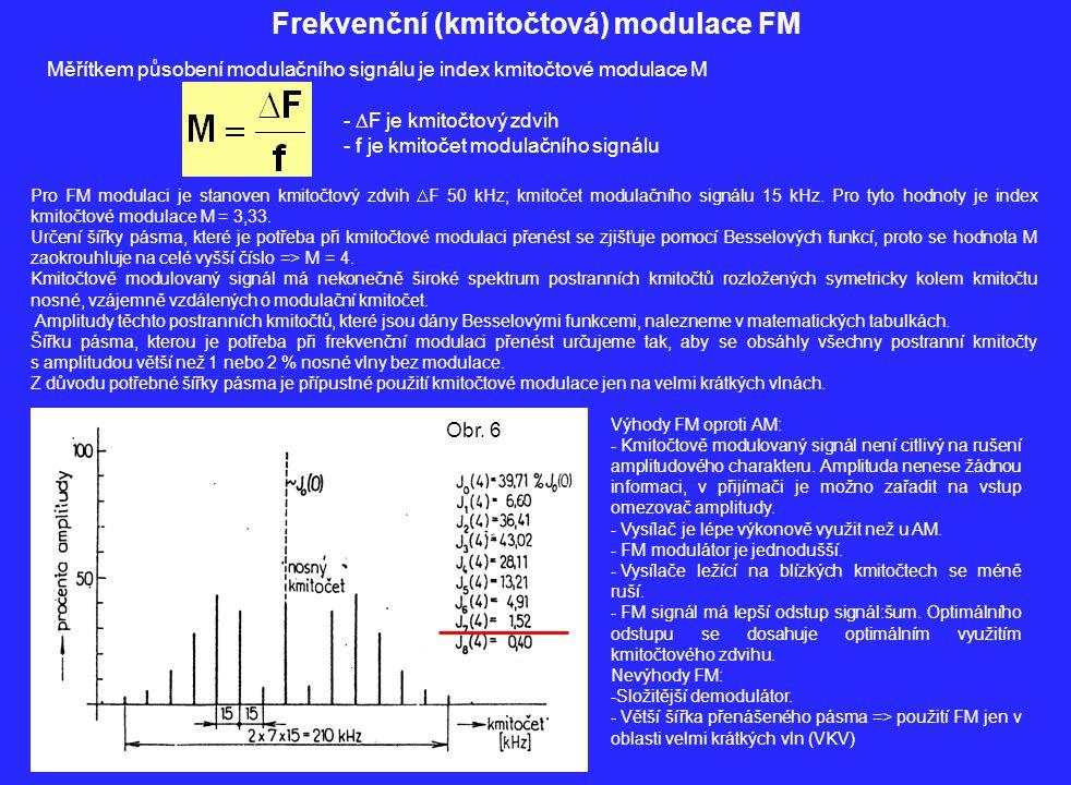 Frekvenční (kmitočtová) modulace FM Měřítkem působení modulačního signálu je index kmitočtové modulace M -  F je kmitočtový zdvih - f je kmitočet mod