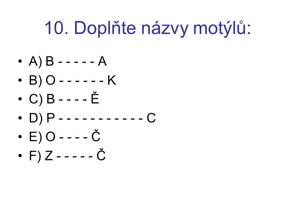 10. Doplňte názvy motýlů: A) B - - - - - A B) O - - - - - - K C) B - - - - Ě D) P - - - - - - - - - - - C E) O - - - - Č F) Z - - - - - Č