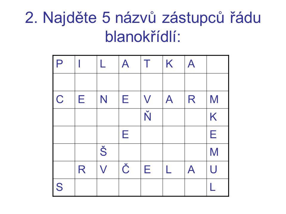 2. Najděte 5 názvů zástupců řádu blanokřídlí: PILATKA CENEVARM ŇK EE ŠM RVČELAU SL