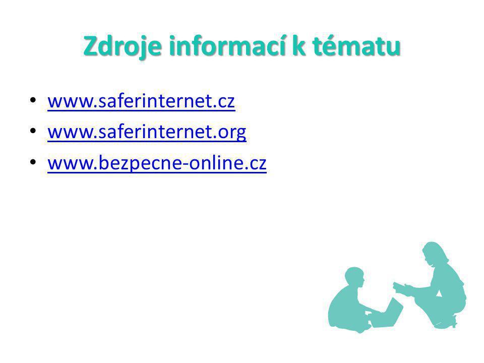 Zdroje informací k tématu www.saferinternet.cz www.saferinternet.org www.bezpecne-online.cz