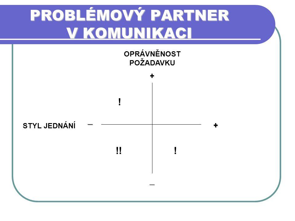 PROBLÉMOVÝ PARTNER V KOMUNIKACI OPRÁVNĚNOST POŽADAVKU + STYL JEDNÁNÍ _ _ + !! ! !