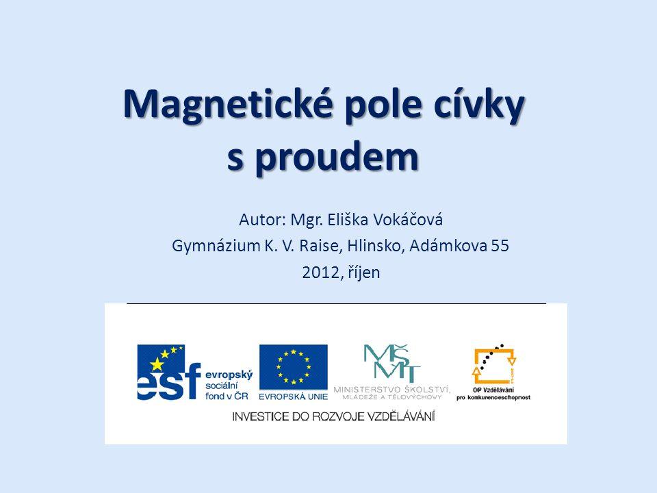 Magnetické pole cívky s proudem Autor: Mgr. Eliška Vokáčová Gymnázium K. V. Raise, Hlinsko, Adámkova 55 2012, říjen