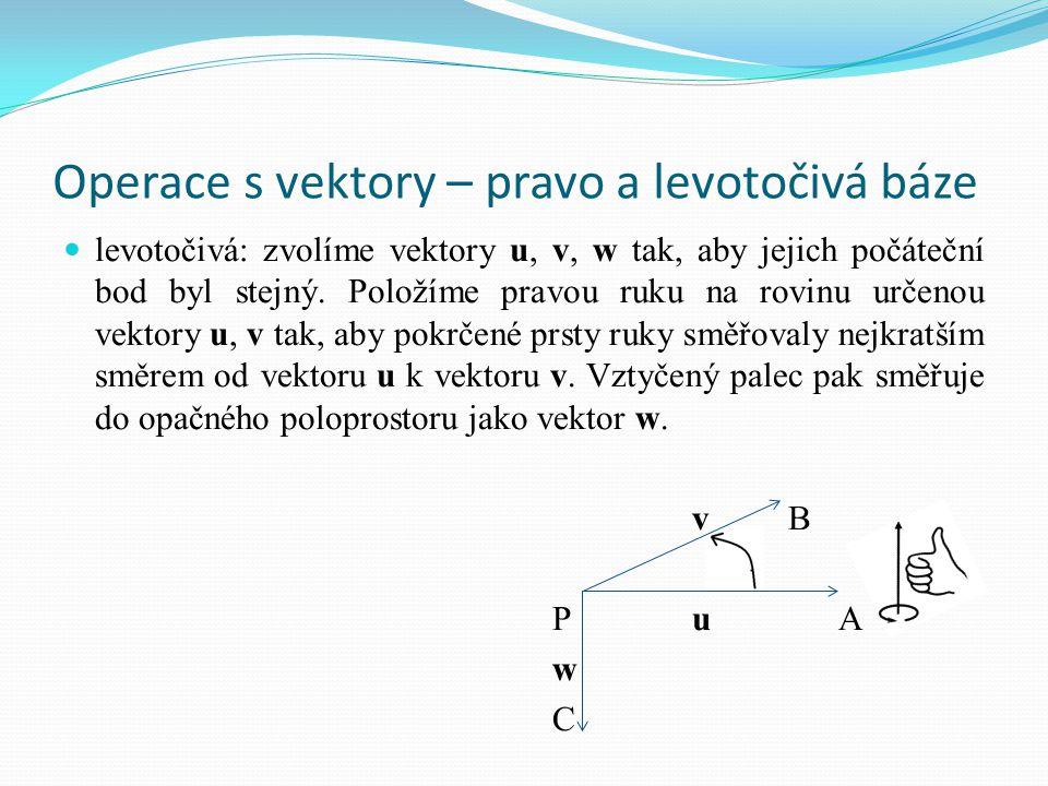 Operace s vektory – pravo a levotočivá báze levotočivá: zvolíme vektory u, v, w tak, aby jejich počáteční bod byl stejný. Položíme pravou ruku na rovi