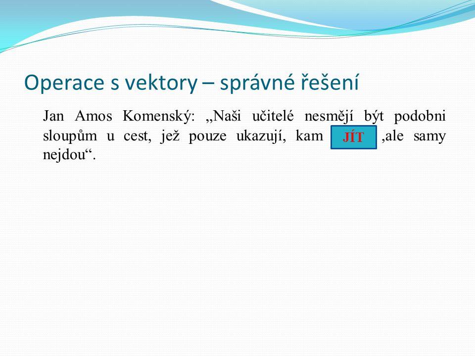 """Operace s vektory – správné řešení Jan Amos Komenský: """"Naši učitelé nesmějí být podobni sloupům u cest, jež pouze ukazují, kam ……..,ale samy nejdou""""."""