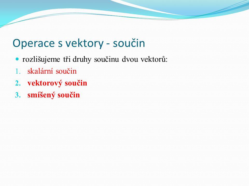 Operace s vektory – geometrický význam vektorového součinu v minulé hodině jsme si ukázali, že vektorový součin dvou vektorů u, v neležících na jedné přímce je vektor w, pro který platí: ׀w׀ = ׀u׀.