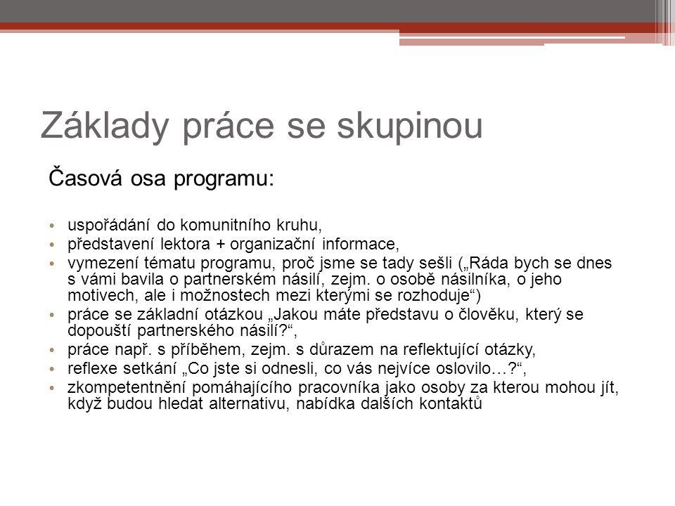 Základy práce se skupinou Časová osa programu: uspořádání do komunitního kruhu, představení lektora + organizační informace, vymezení tématu programu,