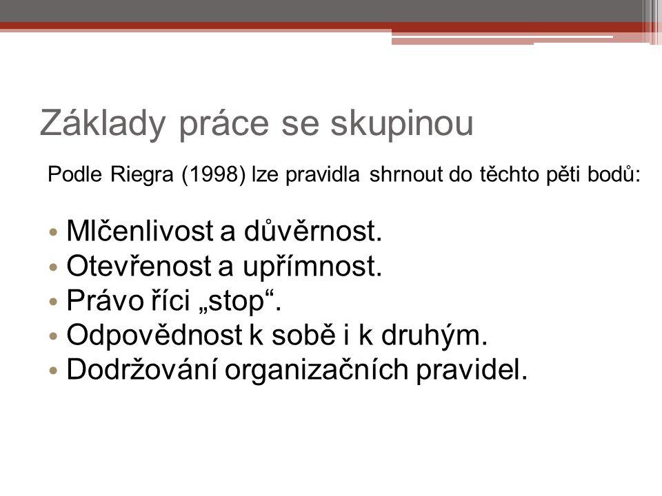 """Základy práce se skupinou Podle Riegra (1998) lze pravidla shrnout do těchto pěti bodů: Mlčenlivost a důvěrnost. Otevřenost a upřímnost. Právo říci """"s"""