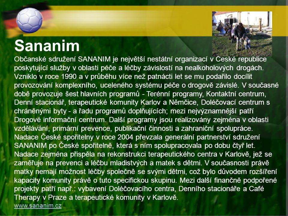 Sananim Občanské sdružení SANANIM je největší nestátní organizací v České republice poskytující služby v oblasti péče a léčby závislostí na nealkoholo