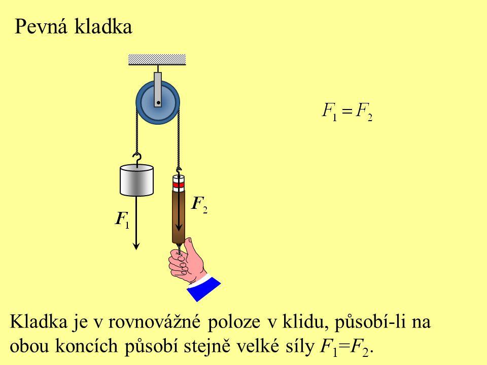 Pevná kladka Kladka je v rovnovážné poloze v klidu, působí-li na obou koncích působí stejně velké síly F 1 =F 2.