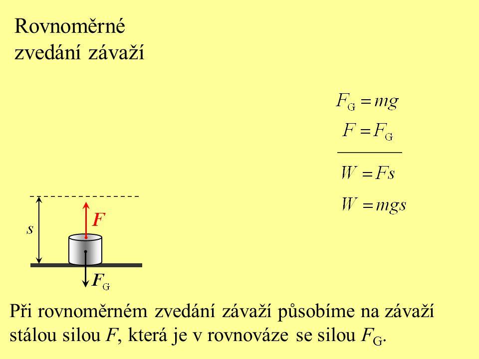 Rovnoměrné zvedání závaží Při rovnoměrném zvedání závaží působíme na závaží stálou silou F, která je v rovnováze se silou F G.
