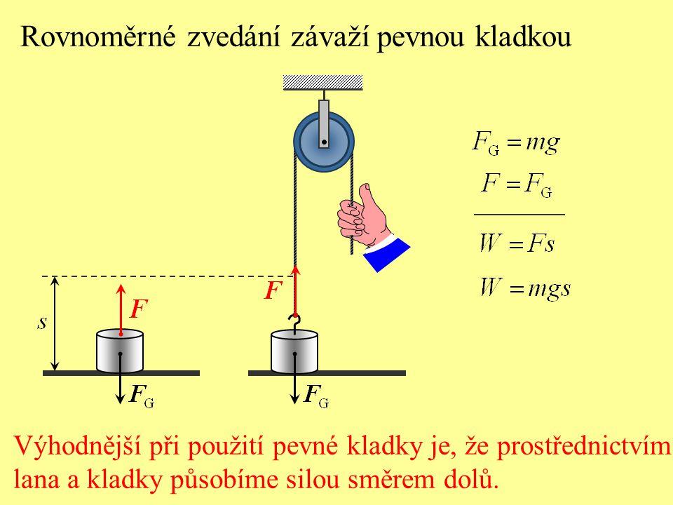 Rovnoměrné zvedání závaží pevnou kladkou Výhodnější při použití pevné kladky je, že prostřednictvím lana a kladky působíme silou směrem dolů.