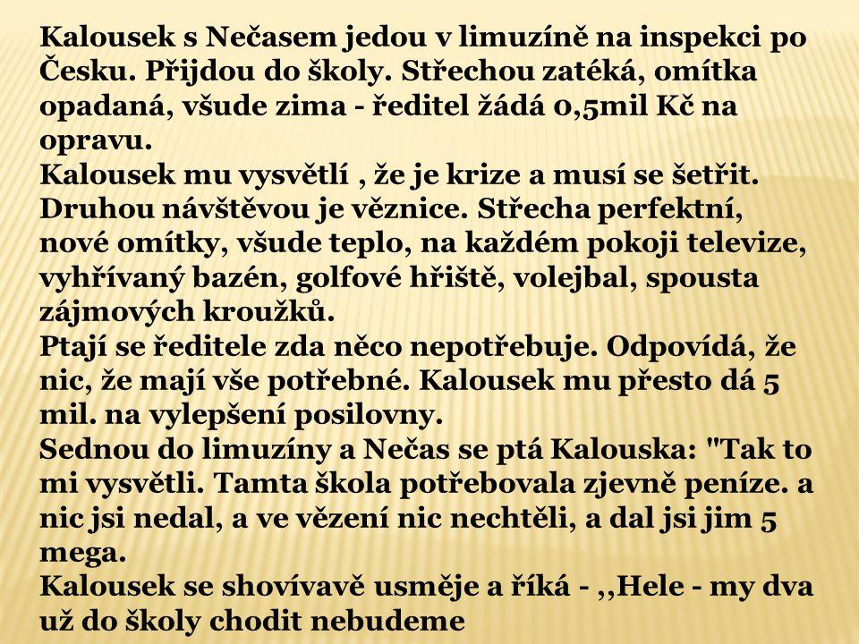 Kalousek s Nečasem jedou v limuzíně na inspekci po Česku.