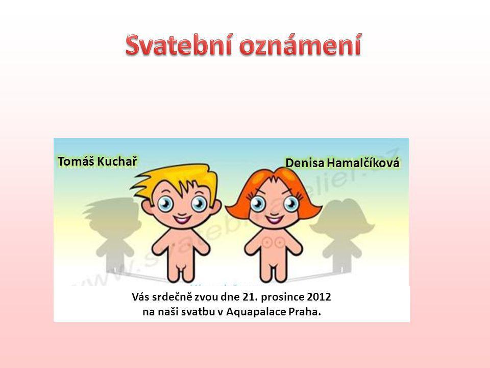 Vás srdečně zvou dne 21. prosince 2012 na naši svatbu v Aquapalace Praha.