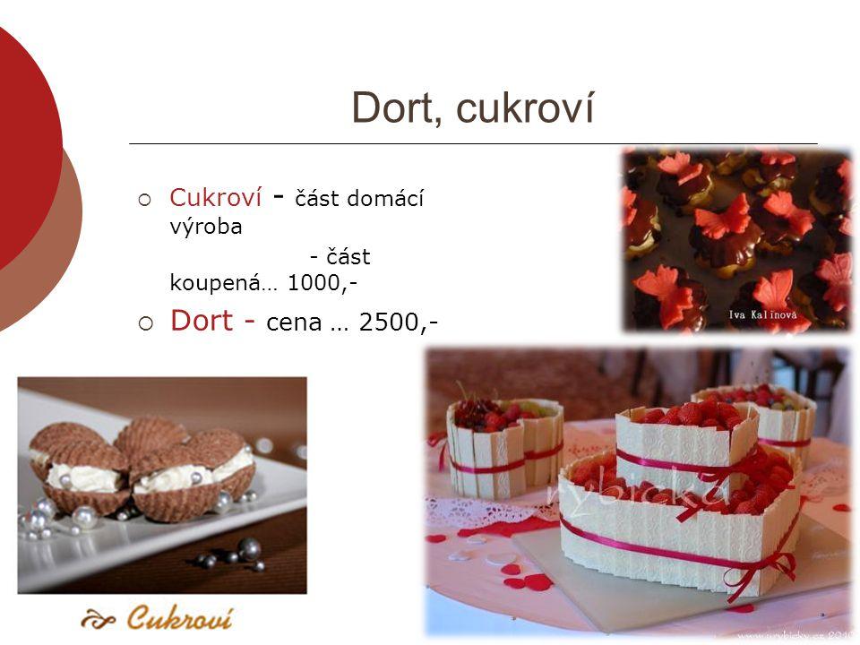 Dort, cukroví  Cukroví - část domácí výroba - část koupená… 1000,-  Dort - cena … 2500,-