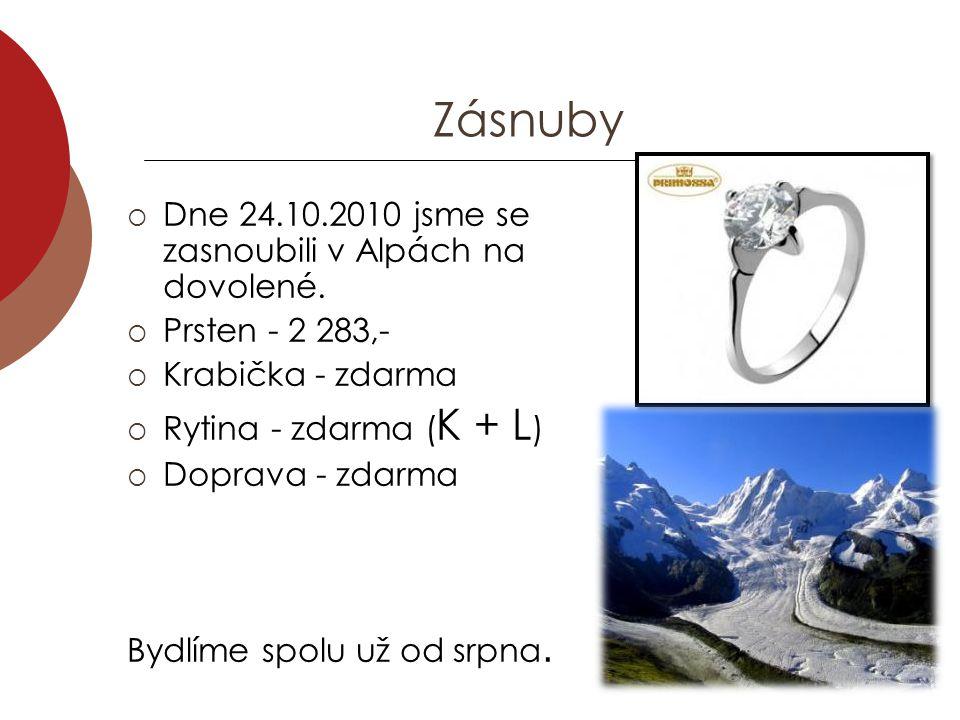 Zásnuby  Dne 24.10.2010 jsme se zasnoubili v Alpách na dovolené.  Prsten - 2 283,-  Krabička - zdarma  Rytina - zdarma ( K + L )  Doprava - zdarm