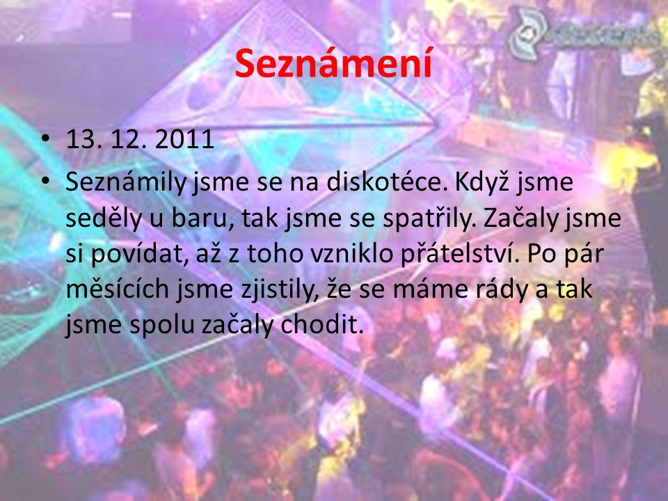 Seznámení 13. 12. 2011 Seznámily jsme se na diskotéce. Když jsme seděly u baru, tak jsme se spatřily. Začaly jsme si povídat, až z toho vzniklo přátel