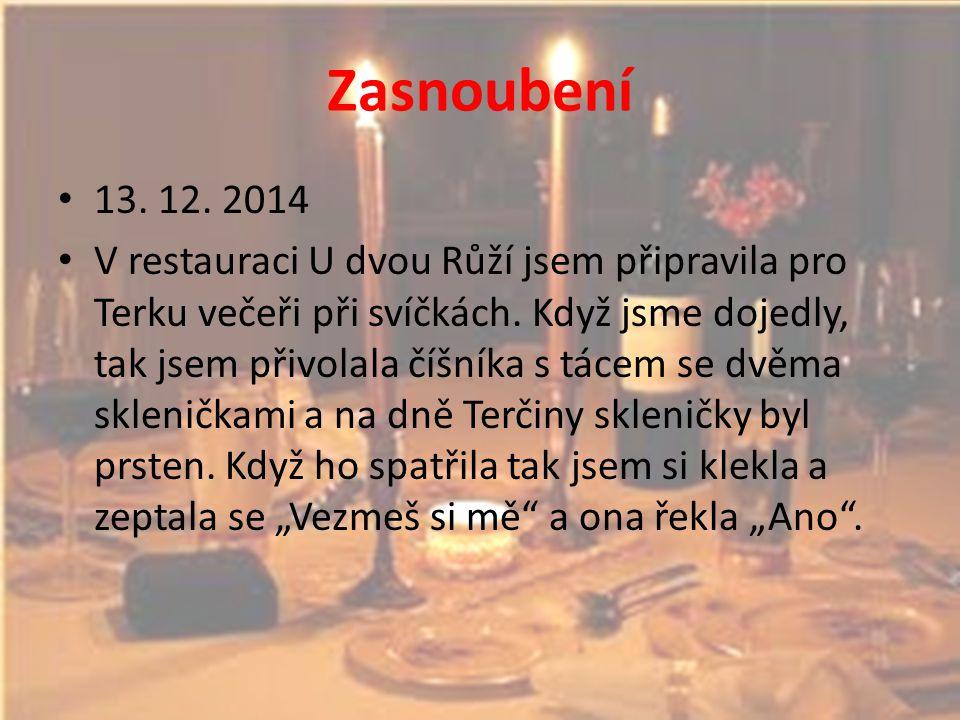 Zasnoubení 13. 12. 2014 V restauraci U dvou Růží jsem připravila pro Terku večeři při svíčkách. Když jsme dojedly, tak jsem přivolala číšníka s tácem