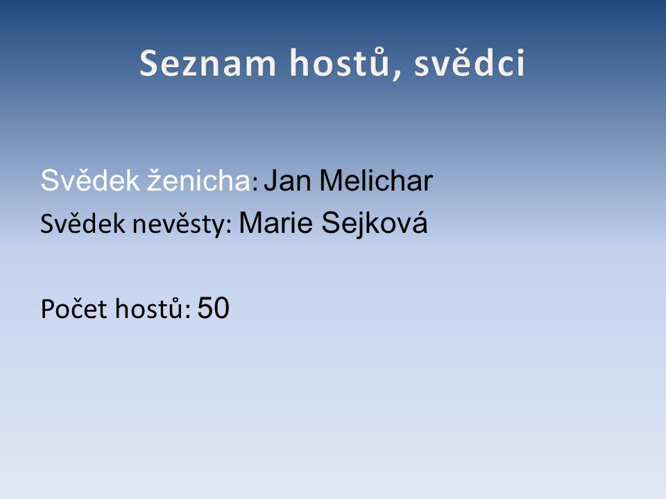 Svědek ženicha : Jan Melichar Svědek nevěsty: Marie Sejková Počet hostů: 50