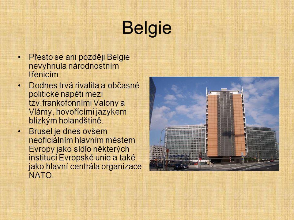 Belgie Přesto se ani později Belgie nevyhnula národnostním třenicím. Dodnes trvá rivalita a občasné politické napěti mezi tzv.frankofonními Valony a V