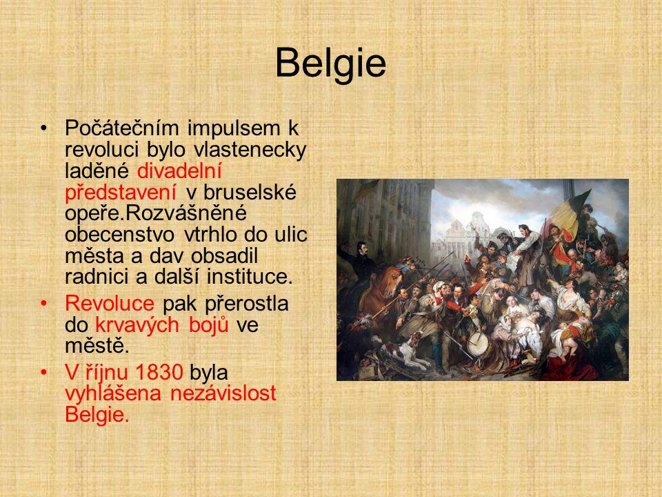 Belgie Počátečním impulsem k revoluci bylo vlastenecky laděné divadelní představení v bruselské opeře.Rozvášněné obecenstvo vtrhlo do ulic města a dav