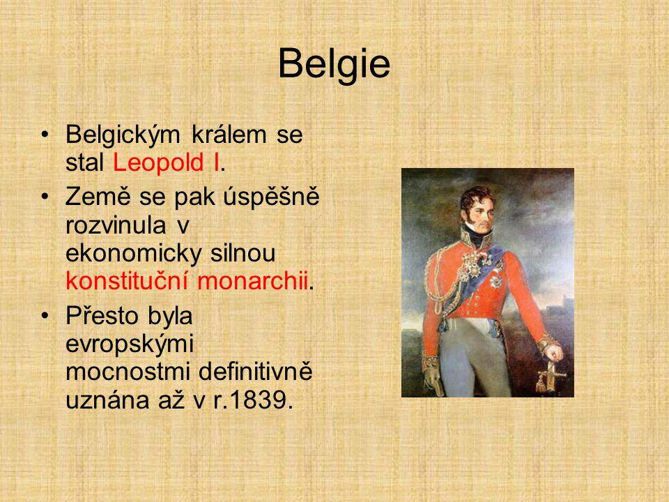 Belgie Belgickým králem se stal Leopold I. Země se pak úspěšně rozvinula v ekonomicky silnou konstituční monarchii. Přesto byla evropskými mocnostmi d