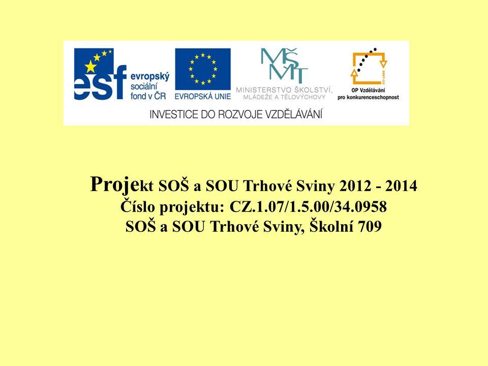 Proje kt SOŠ a SOU Trhové Sviny 2012 - 2014 Číslo projektu: CZ.1.07/1.5.00/34.0958 SOŠ a SOU Trhové Sviny, Školní 709