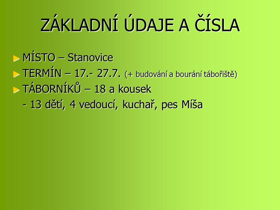 ZÁKLADNÍ ÚDAJE A ČÍSLA ► MÍSTO – Stanovice ► TERMÍN – 17.- 27.7.