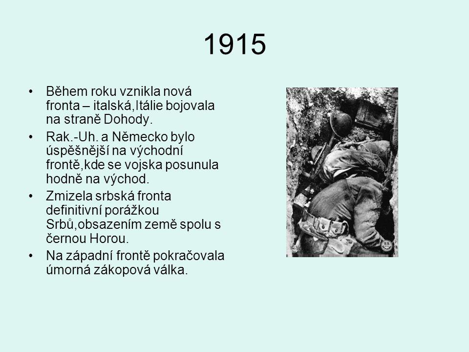 1915 Během roku vznikla nová fronta – italská,Itálie bojovala na straně Dohody.