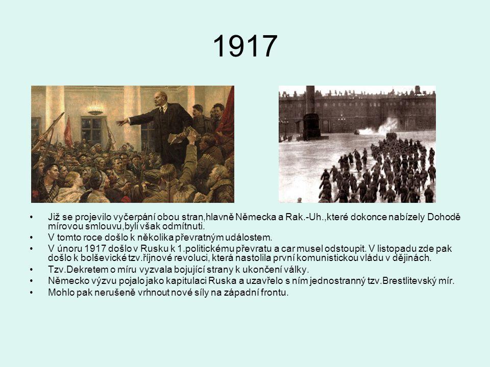 1917 Již se projevilo vyčerpání obou stran,hlavně Německa a Rak.-Uh.,které dokonce nabízely Dohodě mírovou smlouvu,byli však odmítnuti.