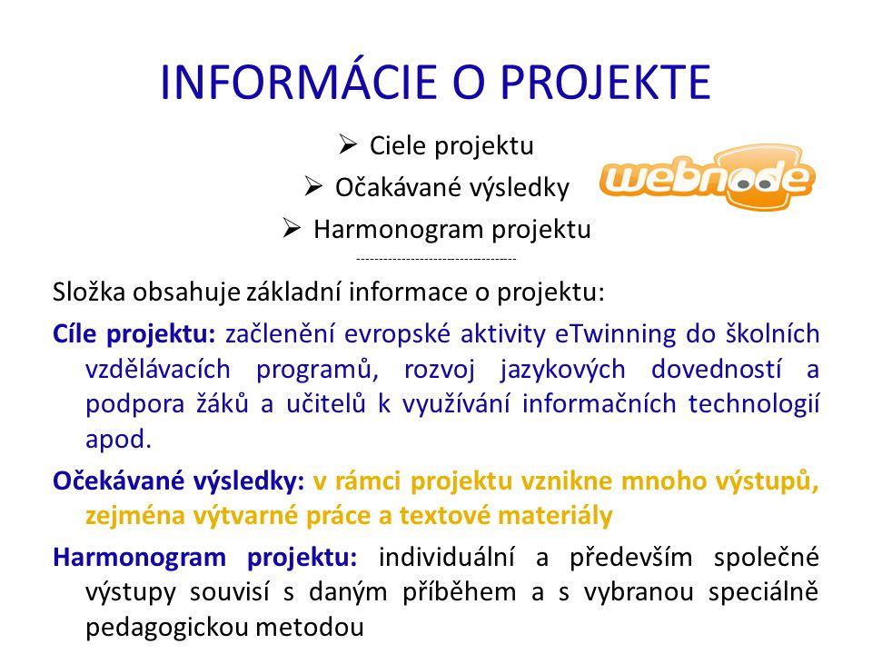 INFORMÁCIE O PROJEKTE  Ciele projektu  Očakávané výsledky  Harmonogram projektu ------------------------------------ Složka obsahuje základní informace o projektu: Cíle projektu: začlenění evropské aktivity eTwinning do školních vzdělávacích programů, rozvoj jazykových dovedností a podpora žáků a učitelů k využívání informačních technologií apod.