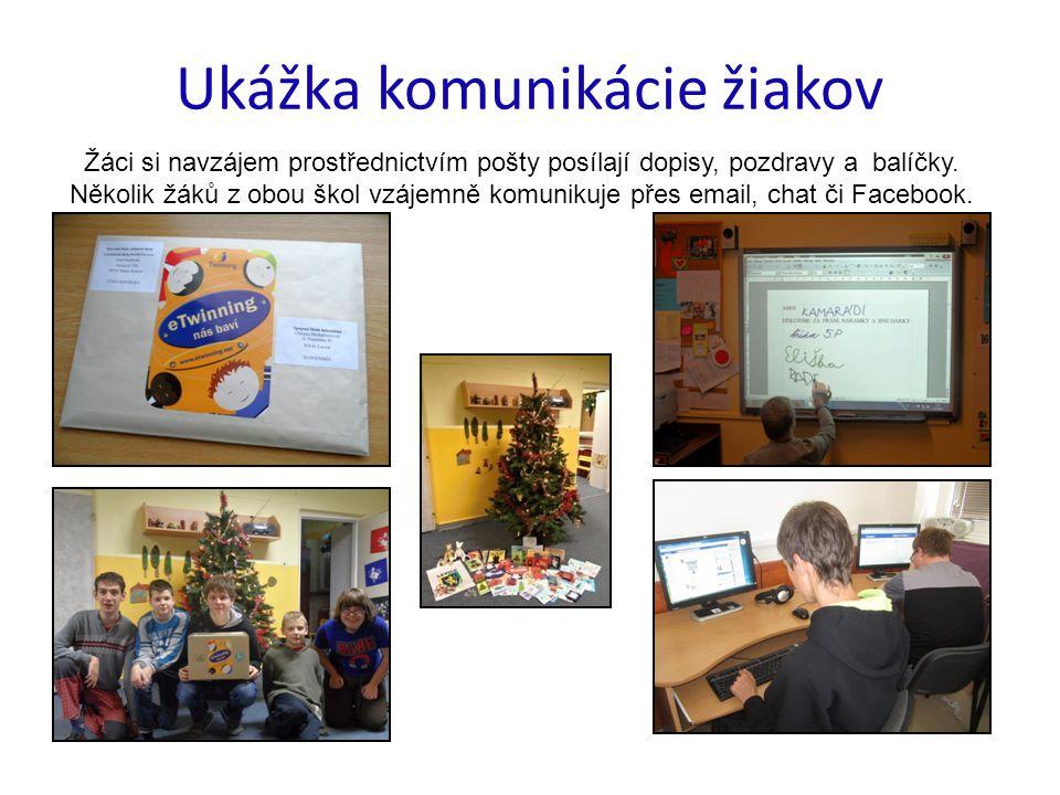 Ukážka komunikácie žiakov Žáci si navzájem prostřednictvím pošty posílají dopisy, pozdravy a balíčky.