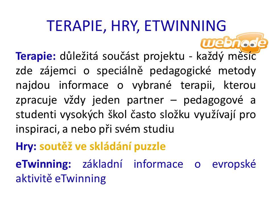 TERAPIE, HRY, ETWINNING Terapie: důležitá součást projektu - každý měsíc zde zájemci o speciálně pedagogické metody najdou informace o vybrané terapii, kterou zpracuje vždy jeden partner – pedagogové a studenti vysokých škol často složku využívají pro inspiraci, a nebo při svém studiu Hry: soutěž ve skládání puzzle eTwinning: základní informace o evropské aktivitě eTwinning