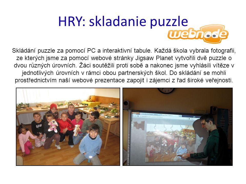 HRY: skladanie puzzle Skládání puzzle za pomocí PC a interaktivní tabule.