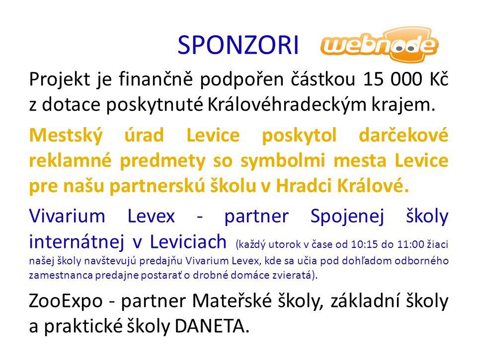 SPONZORI Projekt je finančně podpořen částkou 15 000 Kč z dotace poskytnuté Královéhradeckým krajem.