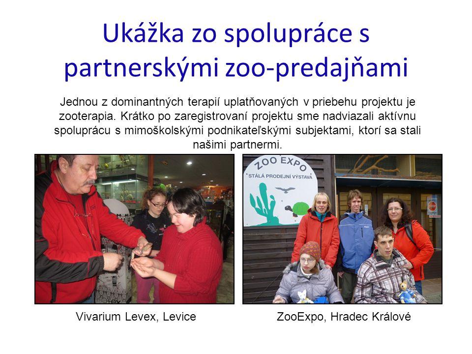 Ukážka zo spolupráce s partnerskými zoo-predajňami Jednou z dominantných terapií uplatňovaných v priebehu projektu je zooterapia.