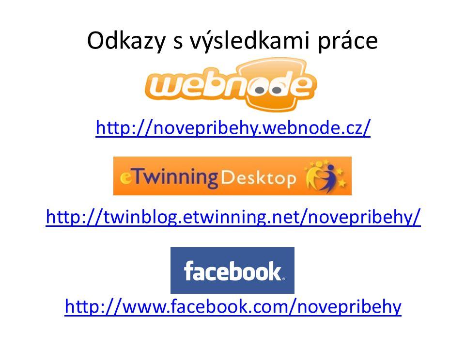 Odkazy s výsledkami práce http://novepribehy.webnode.cz/ http://twinblog.etwinning.net/novepribehy/ http://www.facebook.com/novepribehy