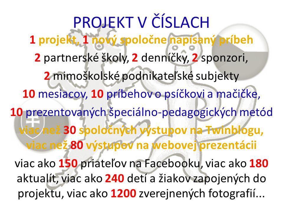 PROJEKT V ČÍSLACH 1 projekt, 1 nový spoločne napísaný príbeh 2 partnerské školy, 2 denníčky, 2 sponzori, 2 mimoškolské podnikateľské subjekty 10 mesiacov, 10 príbehov o psíčkovi a mačičke, 10 prezentovaných špeciálno-pedagogických metód viac než 30 spoločných výstupov na Twinblogu, viac než 80 výstupov na webovej prezentácii viac ako 150 priateľov na Facebooku, viac ako 180 aktualít, viac ako 240 detí a žiakov zapojených do projektu, viac ako 1200 zverejnených fotografií...
