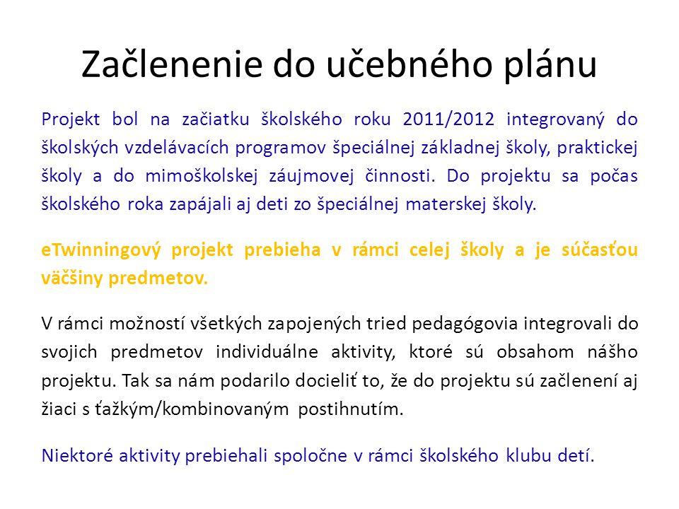Začlenenie do učebného plánu Projekt bol na začiatku školského roku 2011/2012 integrovaný do školských vzdelávacích programov špeciálnej základnej školy, praktickej školy a do mimoškolskej záujmovej činnosti.