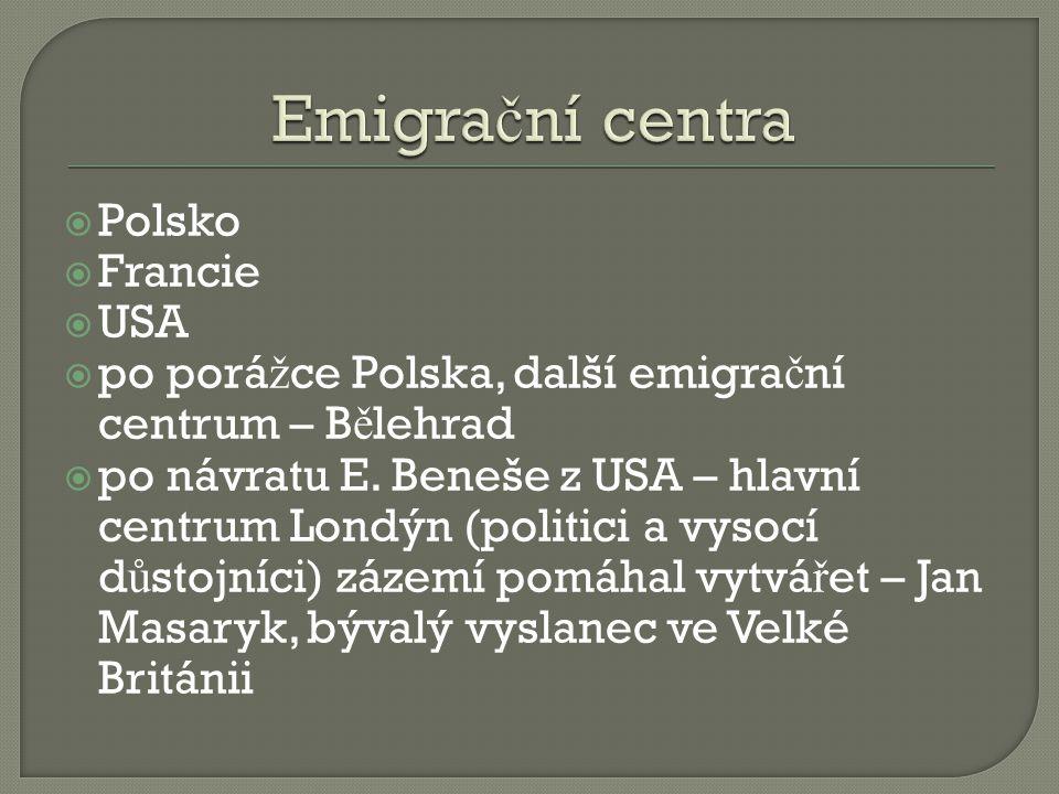  Polsko  Francie  USA  po porá ž ce Polska, další emigra č ní centrum – B ě lehrad  po návratu E.