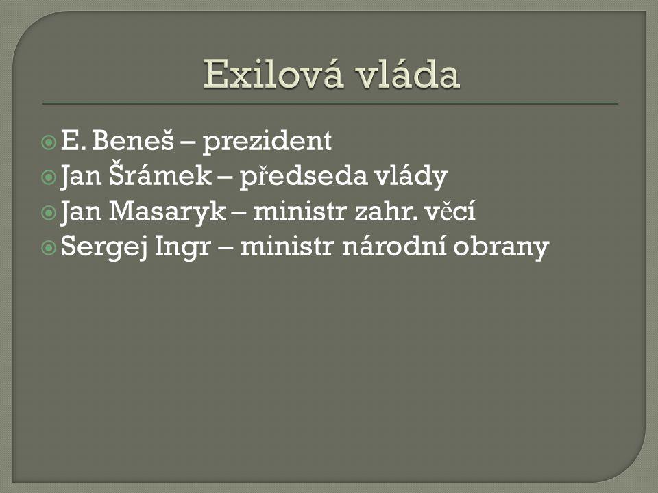  E. Beneš – prezident  Jan Šrámek – p ř edseda vlády  Jan Masaryk – ministr zahr. v ě cí  Sergej Ingr – ministr národní obrany